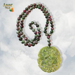 Ruby necklace with jade medal